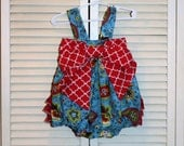 One of a Kind Blue Romper with Red Bow and Ruffles in size 12 to 18 months