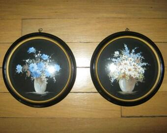 Vintage set of 2 black round framed flower pictures, blue shades flowers glass domed frame, cottage style flowing pictures, flower pictures