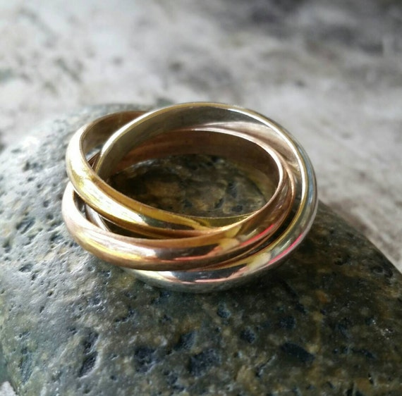 Trinity Wedding Band Cartier Style Rolling Ring Tri Color