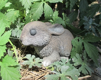 "Rabbit Garden Statue Cast Concrete Cute Cottontail Bunny 6 1/2"" X 4"" tall"