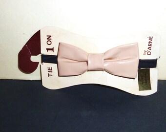 Vintage Patent LEATHER Bow Tie Necktie Bowtie Bone Beige womens or mens