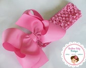 New---Boutique Baby Toddler Girl Hair Bow Crochet Headband---HOT PINK