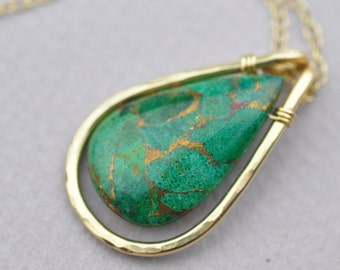 Azurite Briolette Pendant with 14k Gold Fill