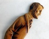 Vintage Abraham Lincoln Hand-Carved Wooden Letter Opener - Abe Lincoln Folk Art Letter Opener - Patriotic Desk Accessory - Lincoln Profile
