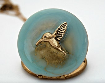Hummingbird Locket Necklace, Turquoise Enamel Jewelry, Gold Hummingbird Pendant, Unique Keepsake, Long Layering Necklace, Vintage Lockets