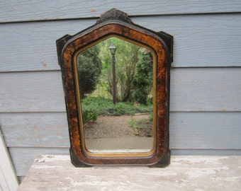 Antique 1880s Primitive Aesthetic Period Grain Painted Wooden Wall Mirror