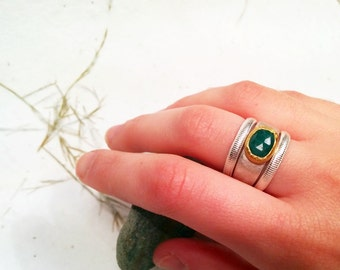 Solid 22k yellow gold setting a beautiful Emerald -11 x 8.5 rose cut free form on a smooth sterling silver band.Engagement ring,harmony ring