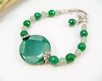 Jade Single Strand Bracelet, Dark Green Jade and Silver Bracelet, Emerald Green, May Birthstone, Women's Bracelet, Gifts for Her,