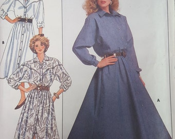 Western Yoke Dress with Sleeve option 8 10 12 butterick 4917