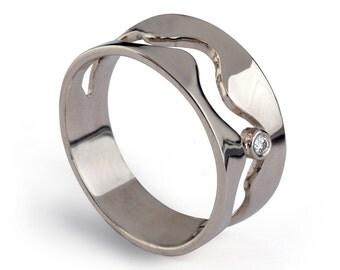 WAVE 14k White Gold Diamond Ring, Diamond Engagement Ring, White Gold Wedding Band, Gold Wave Ring, Gold Diamond Wedding Band