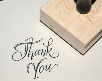 Thank You Rubber Stamp, Custom Calligraphy, Personalized, 3 sizes, wedding favor stamp, wedding thank you