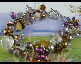Hand Made Women's Sterling Silver Multi-Crystal Gemstones and Freshwater Pearls Bracelet - Free U.S. Shipping