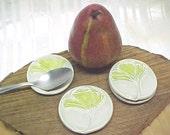 Spoon Rest | Ring Dish | Ginkgo Botanical Eco Design | Hostess Gift | Celadon Glaze Pottery | Decorative Ceramic Dish Small Plate