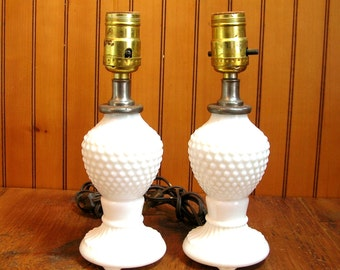 Milk Glass Lamps, Hobnail Milk Glass Lamps, Pair Of Lamps