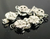 10 sets Box Clasp - Rhodium Plated Filigree Flower Box Clasp - 15x9mm - Ship from California USA - BC205