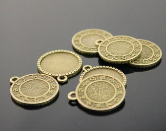 12 Zodiac Sign Pendant BEZELS with GLASS Magnifying Domes Cabochon - 5 sets 10 pcs  - 16mm 5/8 inch Antique Brass Bezel and Circle Domed