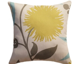Floral Throw Pillow, Thomas Paul Dahlia Aegean Citrine, Taupe, Aqua, Decorative Throw Pillow - - Free Shipping