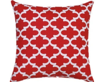Red STUFEFD Throw Pillow, Fulton Lipstick Red and White Pillow - Red Moroccan Print Accent Pillow - Red Decorative Throw Pillow - Free Ship