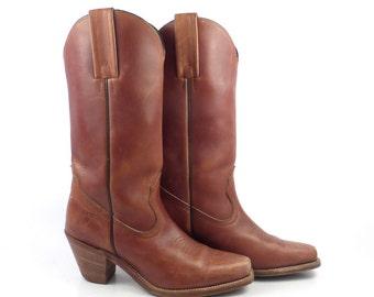 Frye Cowboy Boots Vintage 1980s Rich Carmel Whiskey Brown Women's size 6 B