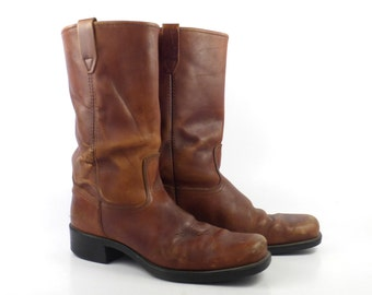 Campus Boots Vintage 1970s Whiskey Brown Dingo Leather men's size 9 D