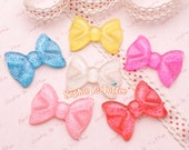 Big Classic Glitter Bow Flatback Resin Cabcohon - 6 pieces | Resin Cabochon Decoden Supplies Jewelry Making Flatback Resin Cabochon