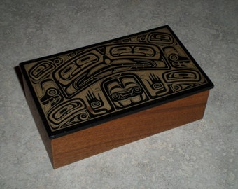 Boma First Nations Canada carved tribal totem trinket box wood & black marble