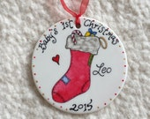 Hand painted porcelain personalized holiday ornament for baby or child or anyone