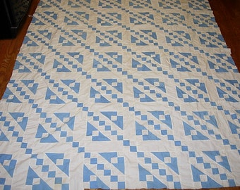 Antique Quilt Top - Hand Pieced Blue and White