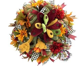Turkey Butt Wreath, Deco Mesh Turkey Wreath, Thanksgiving Wreath for Door, Thanksgiving Decor, Thanksgiving Door Hanger, Autumn Wreaths