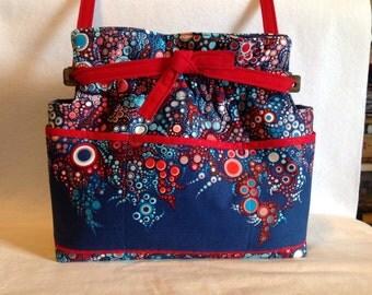 Reversible Effervescence bubbles dots Patriotic fabric handbag Purse cotton quilted
