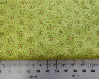Garden Song Fabric - Green and Pink Floral Fabric by Nancy Halvorsen for Benartex - 04281 40 - Yardage