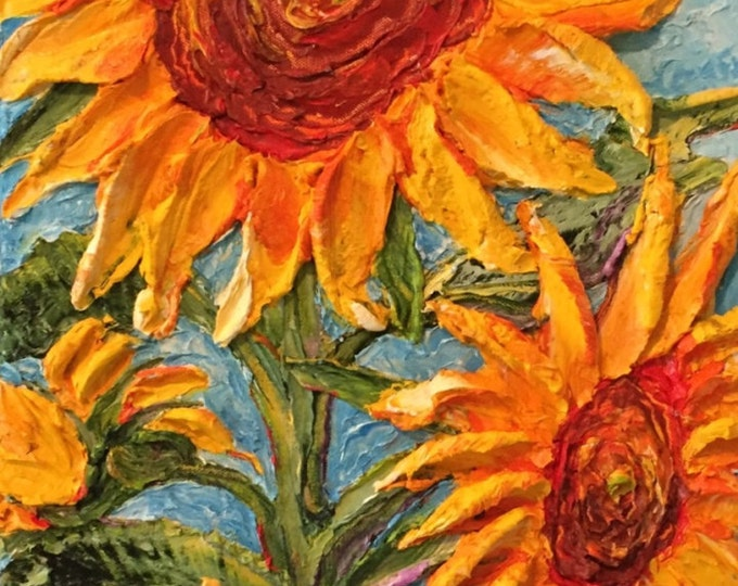 Featured listing image: Sunflower on Blue 12x24 inches Original Impasto Oil Painting by Paris Wyatt Llanso