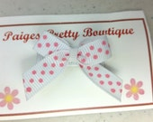 White & Pink Polka Dot Itty Bitty Bow Snap Clip-Baby Bow-Toddler Bow-Fine Hair Clip