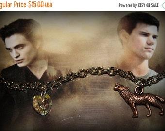 ON SALE Twilight Saga Inspired Bella Edward Jacob Themed Charm Bracelet