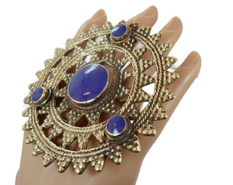 Blue Lapis, Huge Ring, Brass Ring, Kuchi Ring, Vintage Ring, Statement Ring, Afghan, Ethnic Turkish, Two Finger, Unisex, Mens Mans, Unique