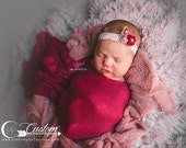 Red Floral, Feather and Lace Baby Girl Headband, Newborn Photo Props, Photography Props, Baby Props, Photo Props, Custom Photo Props, AliCe