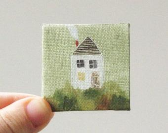 farmhouse  / MINIATURE painting on canvas panel