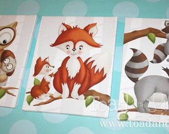 Set of 3 Personalized Forest Woodland Friends Stretched Canvases Girls Bedroom CANVAS Bedroom Wall Art 3CS042