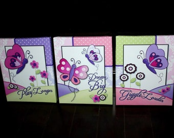 Set of 3 Patterned Butterfly Stretched Canvases Baby Nursery CANVAS Bedroom Wall Art 3CS029