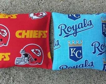 Kansas City Royals & Chiefs  Cornhole Bags- FREE SHIPPING - Set of 8 Baseball Football Cornhole or Baggo Bean Bag Toss