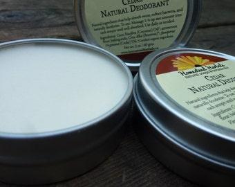 All Natural Deodorant - Cedar / Natural deodorant lotion / 2 oz Travel Tin