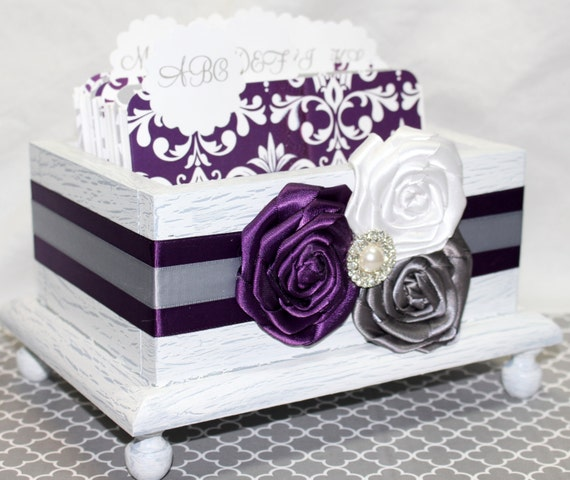 GUEST Book Box, Advice Box, Dividers, Purple and Gray Wedding, White Shabby Chic Box,  Rustic Box, Purple amd Gray, Damask
