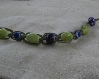 Handmade lampwork Glass hemp bracelet