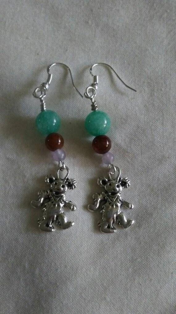Dancing bear earrings-4025