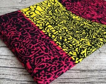 African wax Print Hot Pink Yellow Fat quarter. fat quarter. wax print fat quarter, quilting, African fat quarter