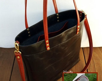 Hand-made Genuine Leather Carry-all Shopping Totes - Black Styles