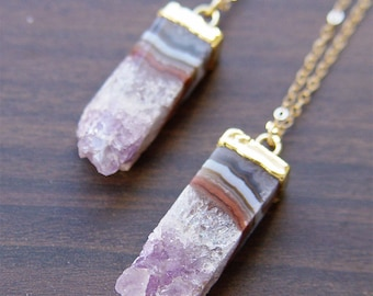 SALE Amethyst Stalactite Gold Necklace OOAK