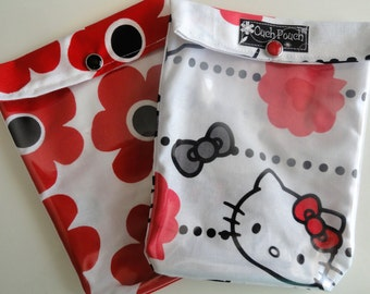 Clear Front Pocket Pouches 2 Pack Cosmetic First Aid Baby Diaper Bag Purse Organizer Christmas Under 10 Medium 5x7 Red Flowers & Kitty