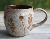 Nature Mug Rustic Stoneware with Pressed Leaves and Flower Impression Made in USA Ready to Ship