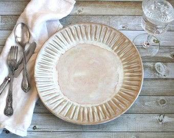 Dinnerware Set of 10 Extra Large Dinner Plates in Creamy White Glaze Stoneware Handcrafted Carved Dishes Made in USA